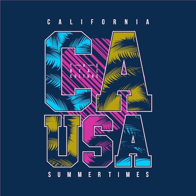 Californië zomertijd grafische typografie Premium Vector