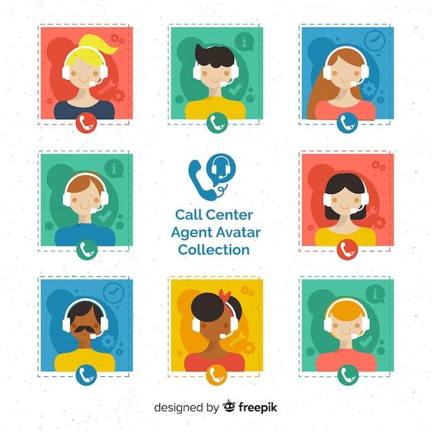 Call center agent-avatarcollectie met plat ontwerp Gratis Vector