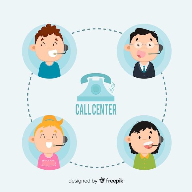 Call center agent concept Gratis Vector