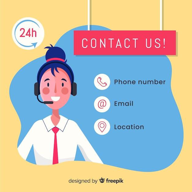 Call center agentontwerp in vlakke stijl Gratis Vector