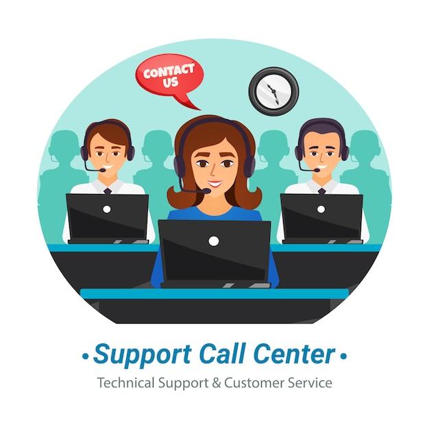 Call center exploitanten platte samenstelling Gratis Vector