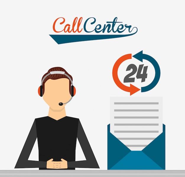 Call center illustratie Gratis Vector