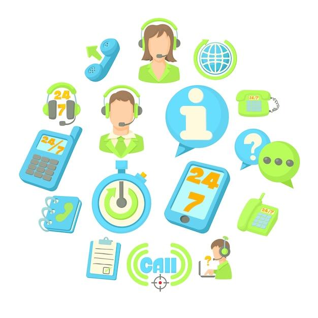 Call center items icon set, cartoon stijl Premium Vector