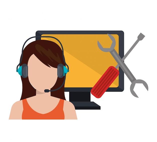 Call center service illustratie Gratis Vector