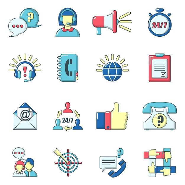 Call centre geplaatste pictogrammen, beeldverhaalstijl Premium Vector