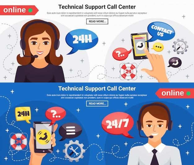 Callcenter 2 horizontale banners Gratis Vector