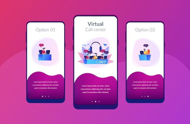 Callcenter app-interfacemalplaatje Premium Vector