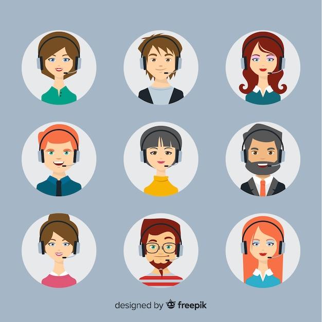 Callcenter avatar collectie Gratis Vector