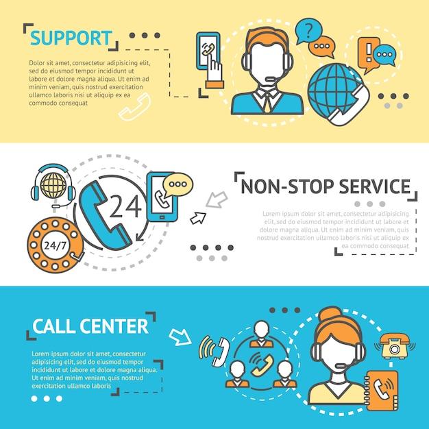 Callcenter-bannerset Gratis Vector