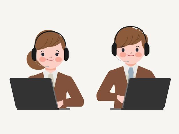 Callcenter en klantenservicekarakter. Gratis Vector