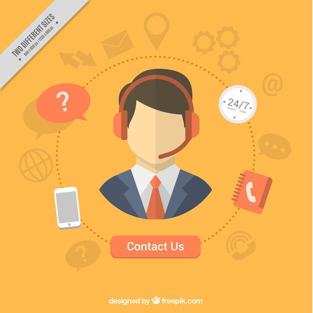 Callcenter gele achtergrond en contact iconen Gratis Vector