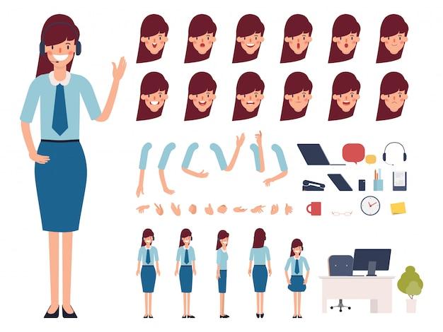 Callcenter of klantenservice klaar voor animatie. Premium Vector