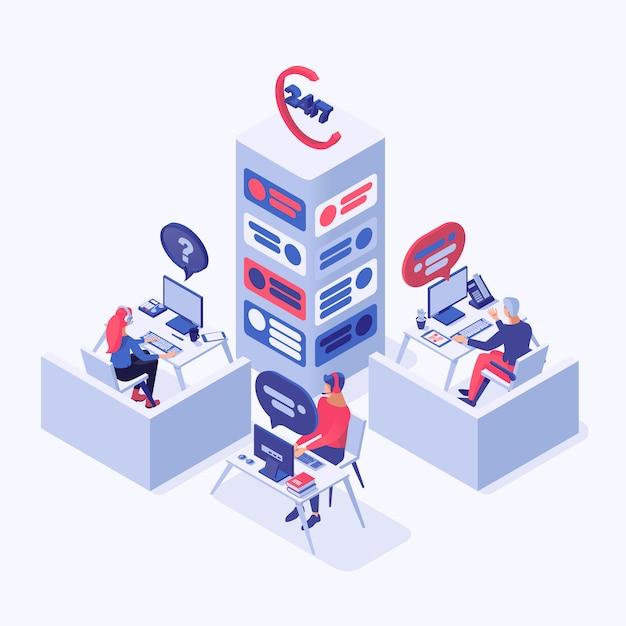 Callcenter, online ondersteuning, hotline-operators, beheerders van consultants 3d-karakters Premium Vector