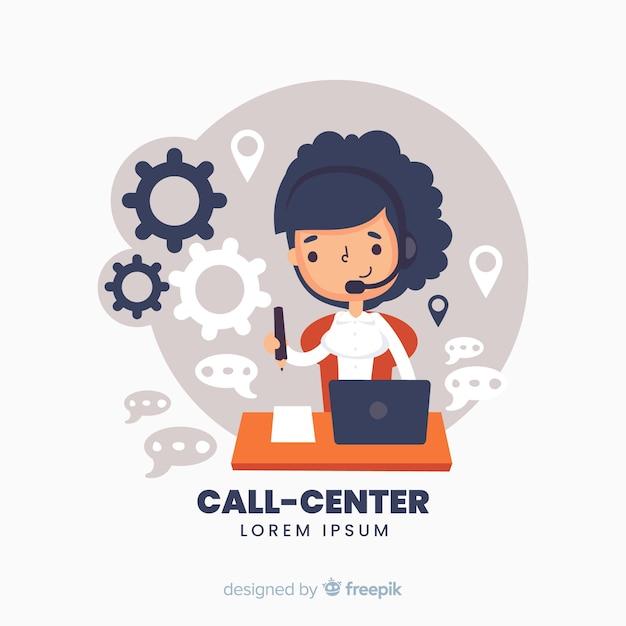 Callcentermedewerker die klanten helpt Gratis Vector