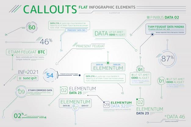 Callouts platte infographic elementen Premium Vector