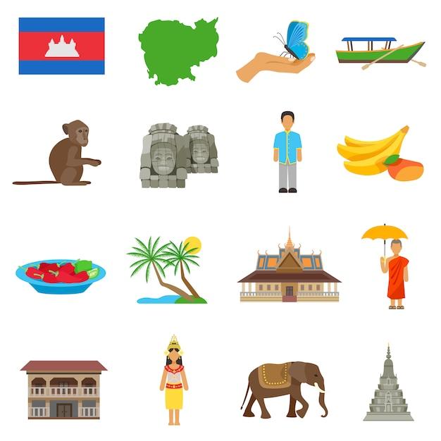 Cambodja cultuur plat pictogrammen instellen Gratis Vector