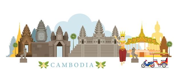 Cambodja skyline oriëntatiepunten Premium Vector