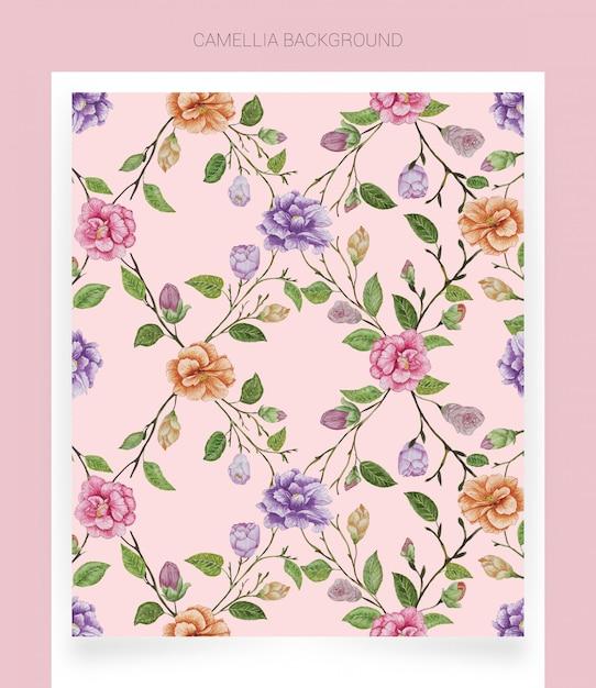 Camellia roze aquarel achtergrond Premium Vector