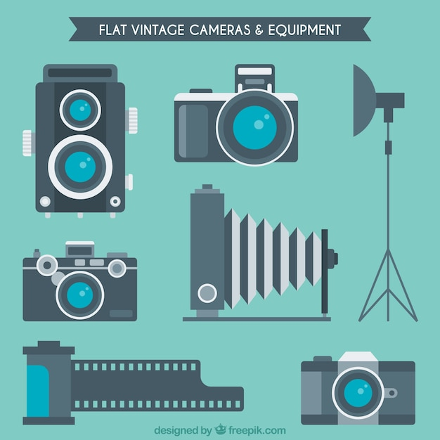 Camera 39 s en apparatuur in plat design vector gratis download for Camera blueprint maker gratuito