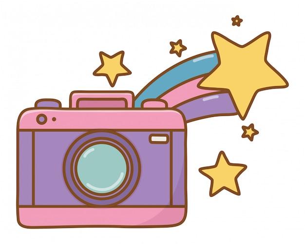 Camera en vallende ster Premium Vector
