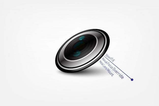 Camera fotolens f1.8, vectorillustratie Premium Vector