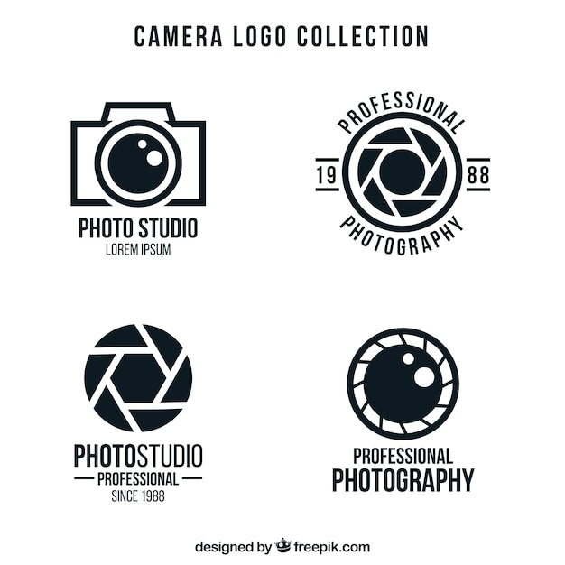Camera logo's pack Gratis Vector