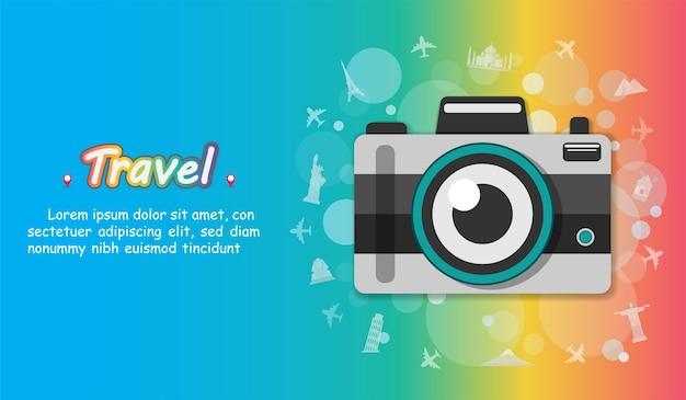 Camera reizen rond de wereld-concept. Premium Vector