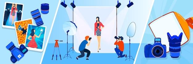 Camera-uitzending, verslaggever, fotograaf, cameraman illustraties banners set. Premium Vector