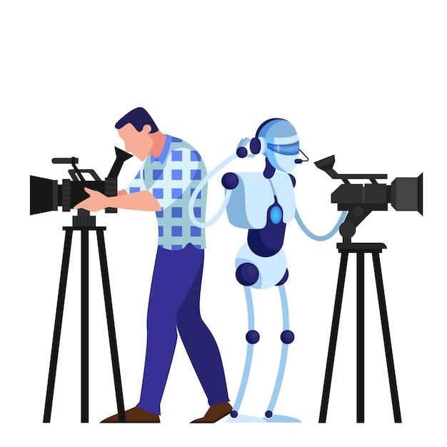 Cameraman en robot schieten film. videoapparatuur, televisiebezetting. kunstmatige intelligentie. illustratie Premium Vector