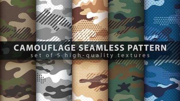 Camouflage militair naadloos patroon instellen Premium Vector