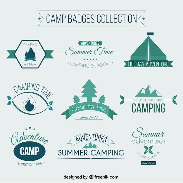Camp badges collectie Gratis Vector
