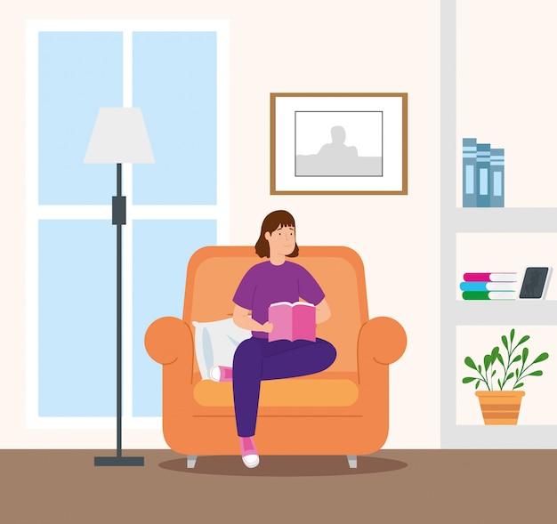 Campagne thuis blijven met vrouw in woonkamer leesboek Gratis Vector