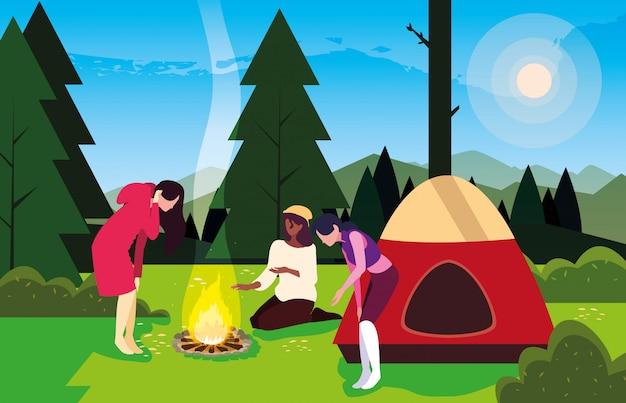 Campers in camping zone met tent en kampvuur dag landschap Premium Vector