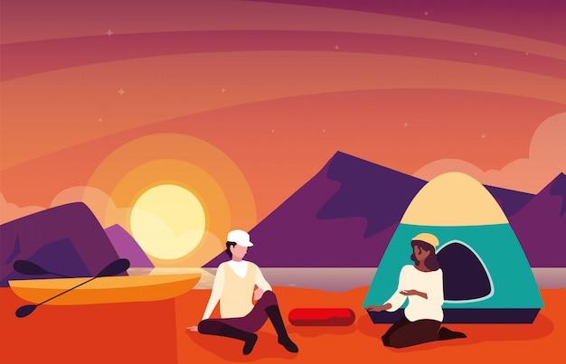 Campers in camping zone met tent zonsondergang scène Premium Vector