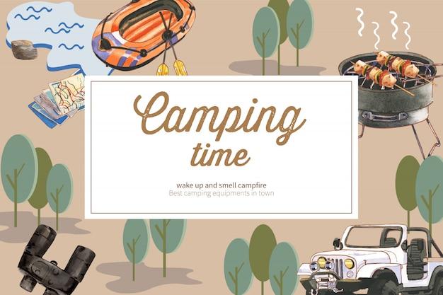 Camping achtergrond met boot, verrekijker en ingeblikt voedsel, auto-illustraties. Gratis Vector