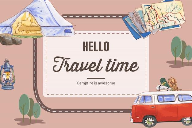 Camping achtergrond met tent, busje, kaart, waterkoker en rugzak illustraties. Gratis Vector