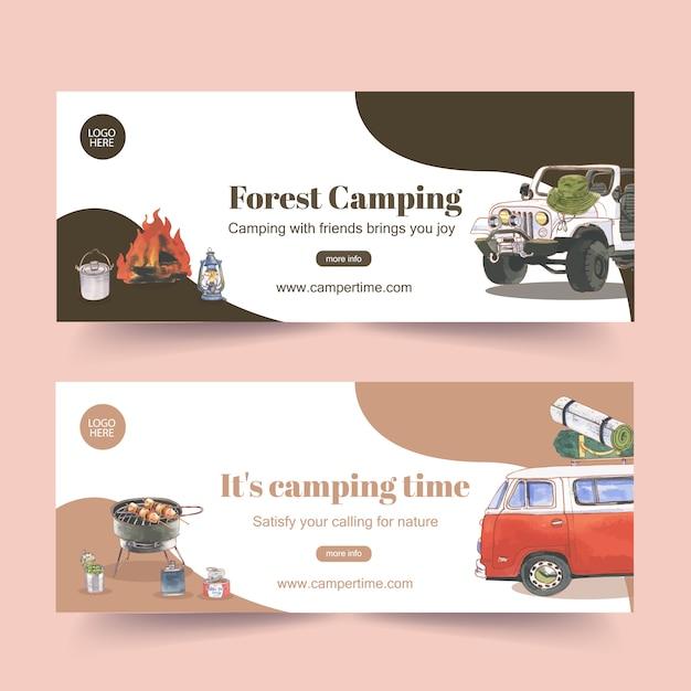 Camping banner met auto-, lantaarn- en kampvuurillustraties Gratis Vector