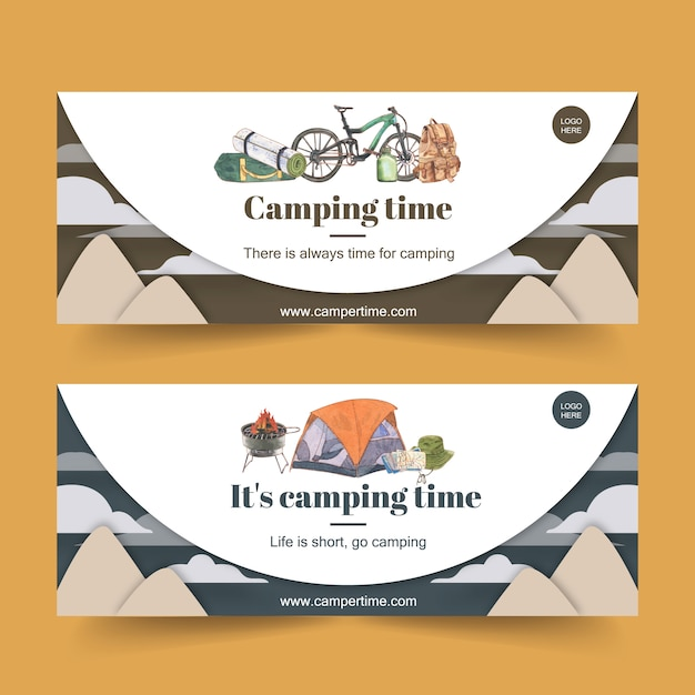Camping banner met fiets, emmer hoed en rugzak illustraties Gratis Vector