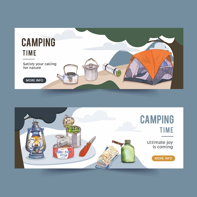 Camping banner met illustraties van camperhulpmiddelen Gratis Vector