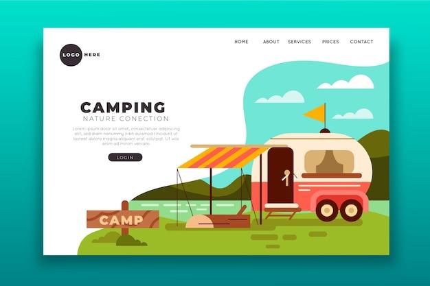 Camping bestemmingspagina concept Gratis Vector