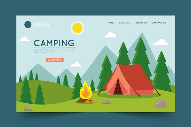 Camping bestemmingspagina sjabloon Gratis Vector