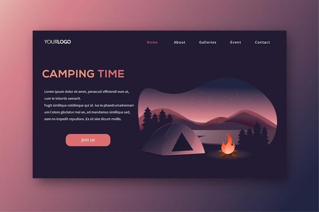 Camping-bestemmingspagina Premium Vector