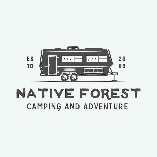 Camping buiten en avontuur logo Premium Vector