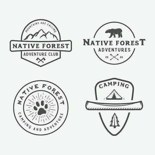 Camping buiten logo set Premium Vector