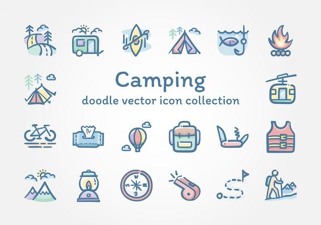 Camping doodle vector icoon collectie Premium Vector