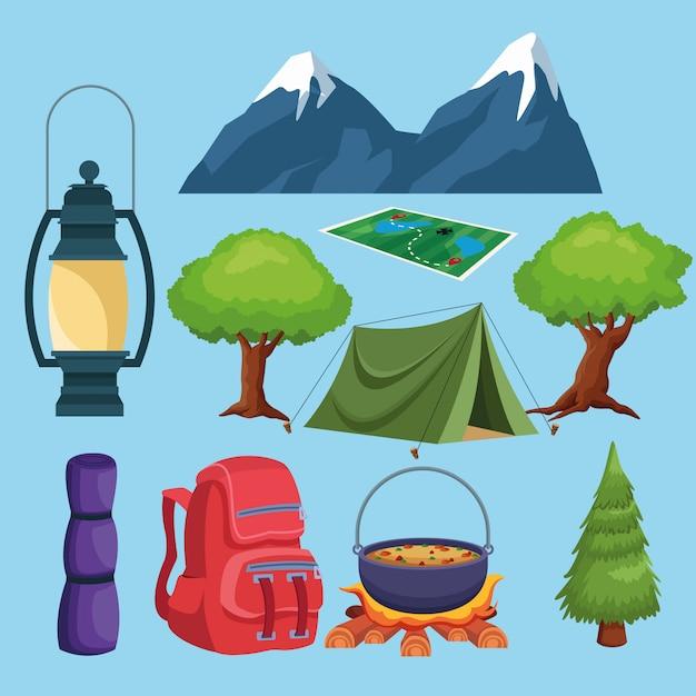 Camping elementen en landschap pictogrammen cartoon Gratis Vector