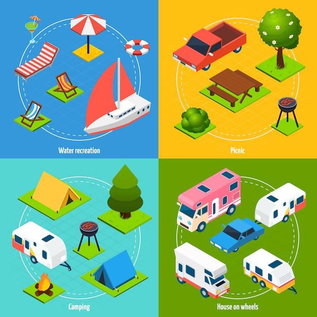 Camping en reizen isometrische kaartenset Gratis Vector