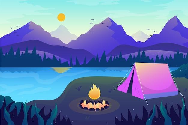 Camping gebied landschap concept Premium Vector