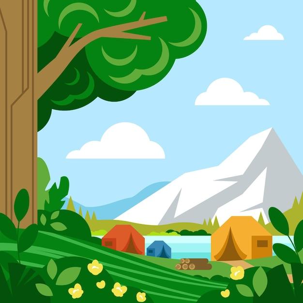 Camping gebied landschap concept Gratis Vector