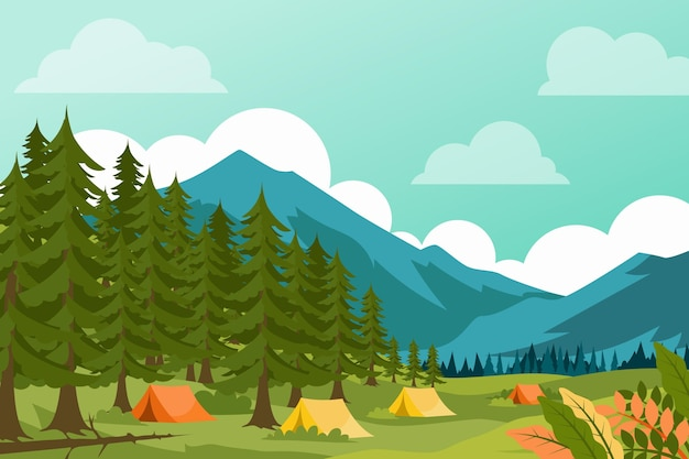 Camping gebied landschap illustratie met bos Gratis Vector